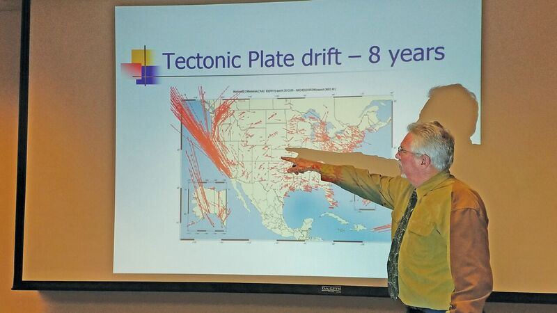 "Scott Martin presents on reference frames, datums, and survey control, pointing to a graphic quantifying movement across CONUS relative to the reference system (NAD83) over an eight-year period. California's vectors are literally ""off the map."""