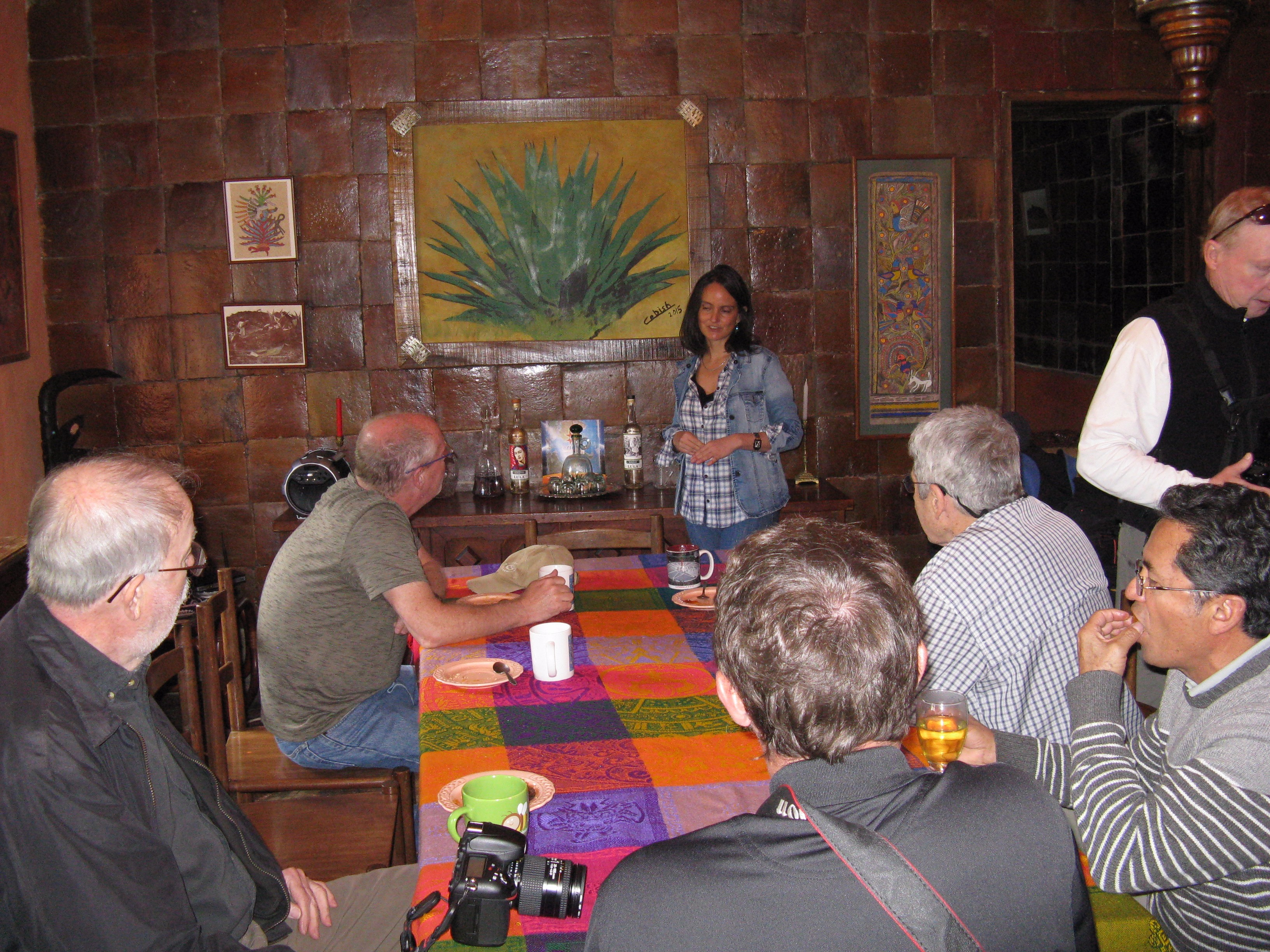 At Hacienda Guachalá, Cristobal presents on geodesy and locally produced foods.