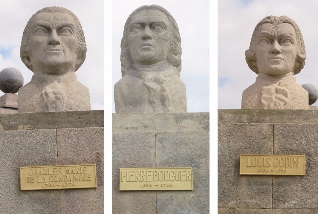 Busts of the members of the 18th-century Geodesic Mission line the Mitad Del Mundo park.