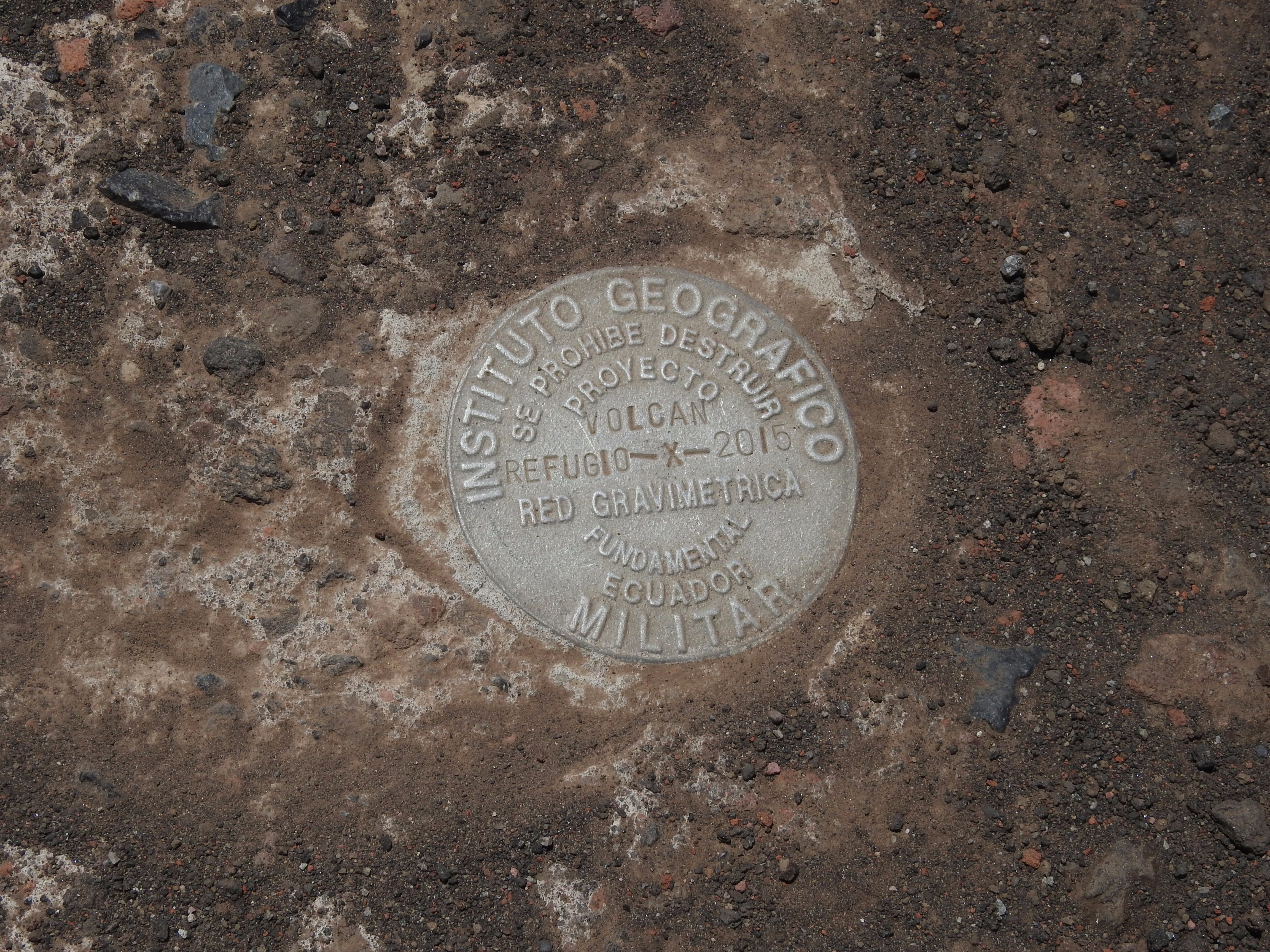 The IGM gravity mark at aclimation hut on Cotopaxi at ~16,000′ elevation Mark Artmstrong
