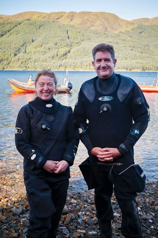 Lindsay Brown, the dive videographer and a member of the Dundee  Sub-Aqua Club, and Mark Paisley.