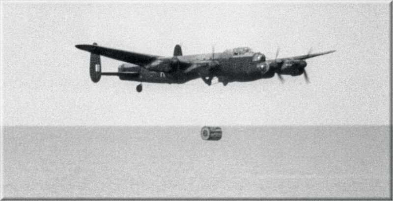 The Lancaster Bomber releases an Upkeep bouncing bomb.