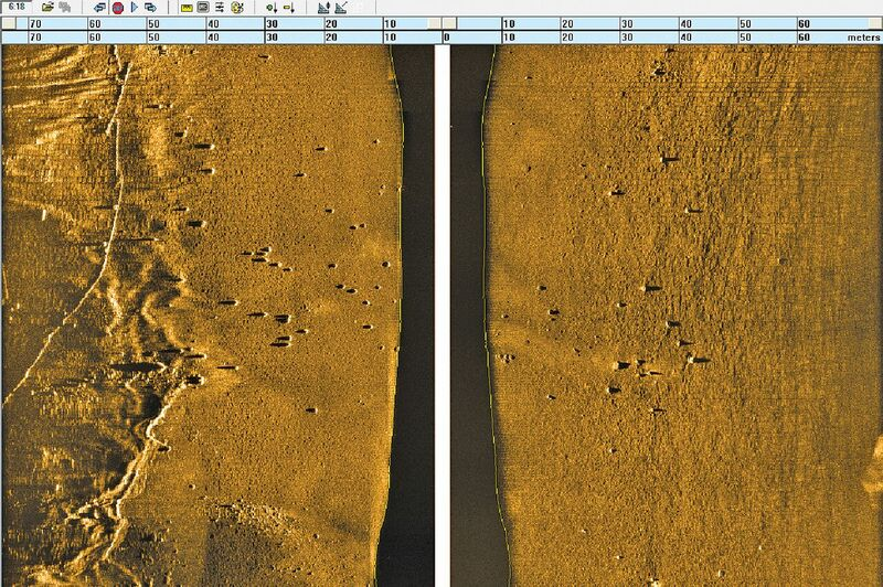 Sidescan sonar images of the Loch seabed reveal the bombs as tiny dots.