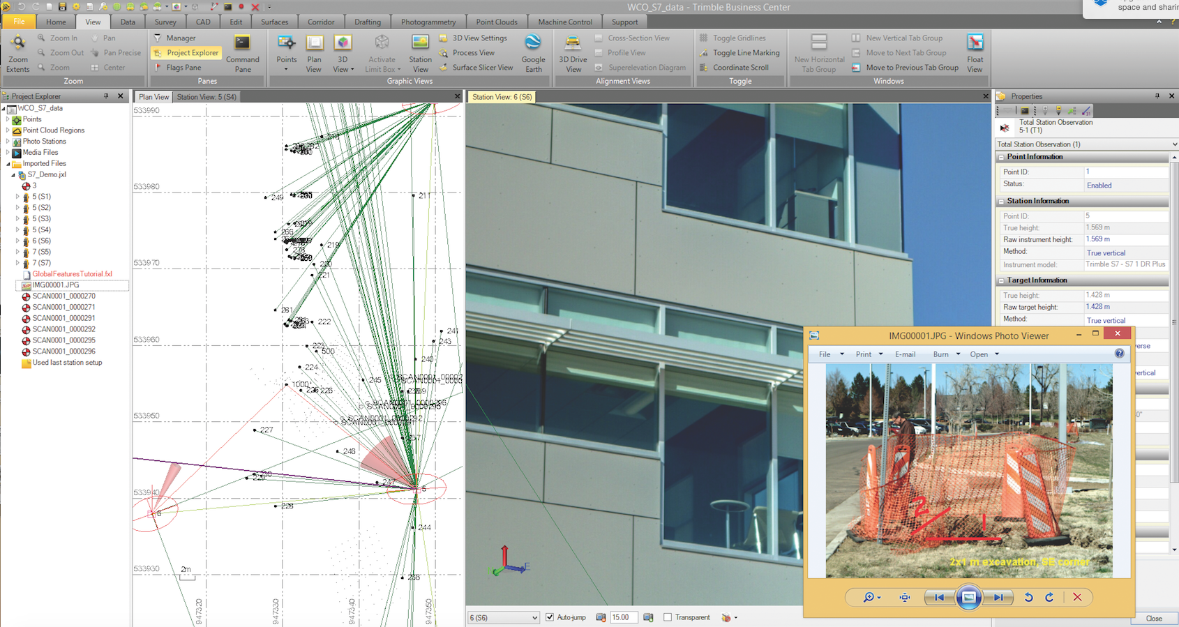 TBC A total station vector plot is combined with photos from the job site. In addition to quality control, new points can be measured later in the office from the georeferenced images.