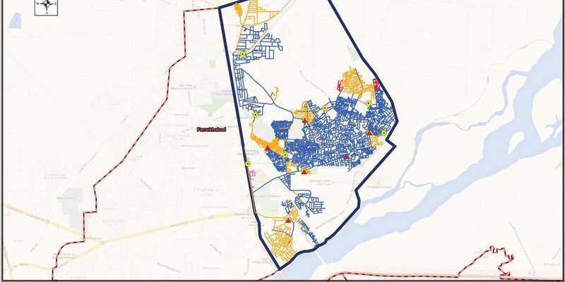 In our system map, the existing situation of the water supply network is shown as aligned with a city boundary.