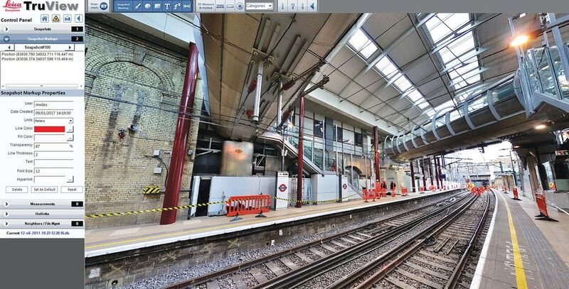 Distance measurements can be taken between any points in this 360º digital panoramic image of a rail station. Credit: ABA Surveying.