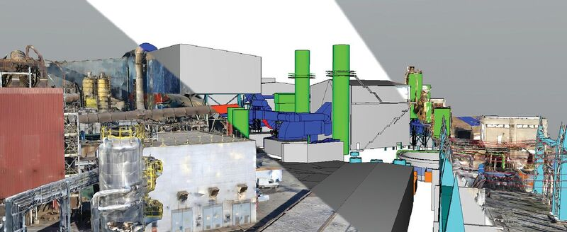 ABS Steelworks' exterior 3D reality mesh of as-built conditions is shown here compared to the design.