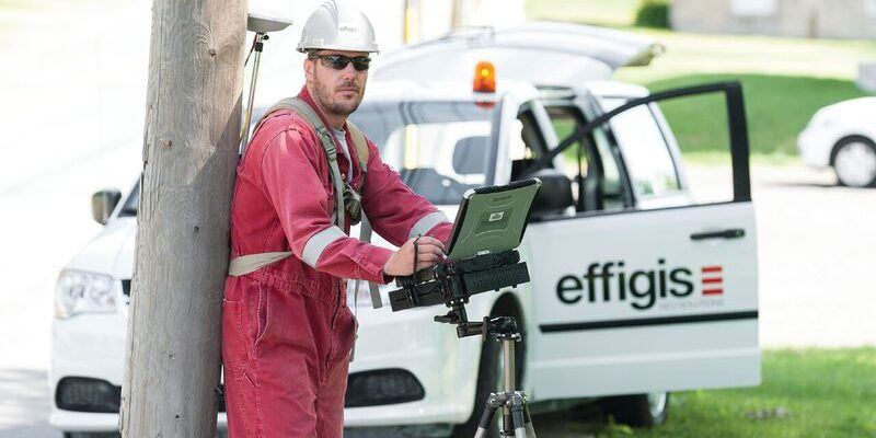 Effigis field crews collect data for utility companies, including pole inspection, structural analysis, and inventories.