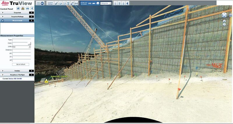 360º digital panoramic images with geometry are provided daily to staff monitoring the repair status of a major dam in Northern California. Credit: R.E.Y. Engineers, Inc.