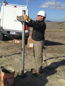 Glen Mattioli helps build a new GNSS station on Camp Pendleton in California as part of the expansion of the Edison SONGS