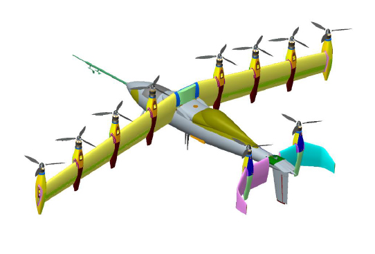 An illustration of Nasa's GL-10 VTOL.