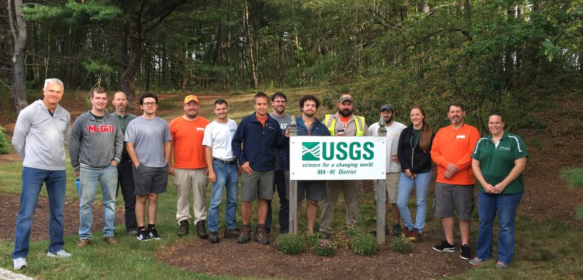 Instructors Brenda Densmore (far right) and Paul Rydlund (far left) bracket their students from a class held in Northborough, MA. Credit: USGS.