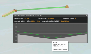 an elevation profile of one of the flights down the glacier: