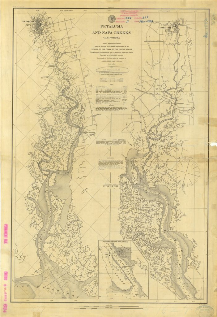 Petaluma and Napa Creeks 1861. Re-issued 1882 with Aids to Navigation corrected to 1885. Credit: NARA C&GS; Collection.