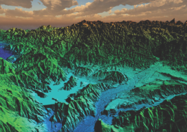 This lidar image was taken over Lake Casitas, California.
