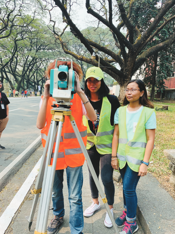 Students operate a total station for their surveying class.