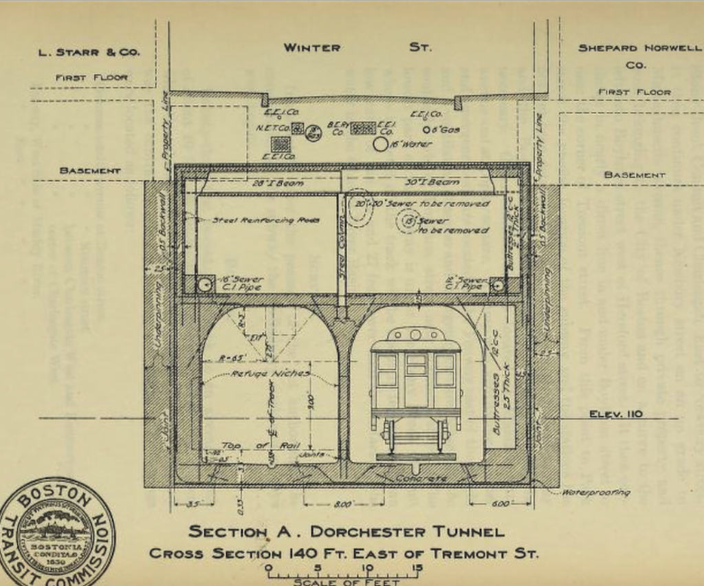 Designers working on Boston's subway drew up accurate renderings of street cross sections in 1898.