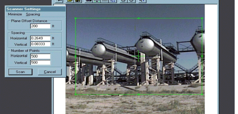 Chevron beta tested Cyrax on an oil & gas field in Kazakhstan. These images show the 3D laser scanner's camera image of the vessels and the resulting point cloud scan.