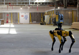 Boston Dynamics' robot dog Spot waits to be called into use in a reconstruction project at Denver International Airport.