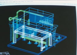 AutoCAD representation of equipment and structure created from scans. Scans were modeled in Cyra's point cloud software and the model was exported to AutoCAD.