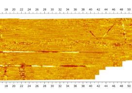Processed time slice with Condor, 34 inches below ground surface. Underground utilities present at that depth show up as linear features in the data.