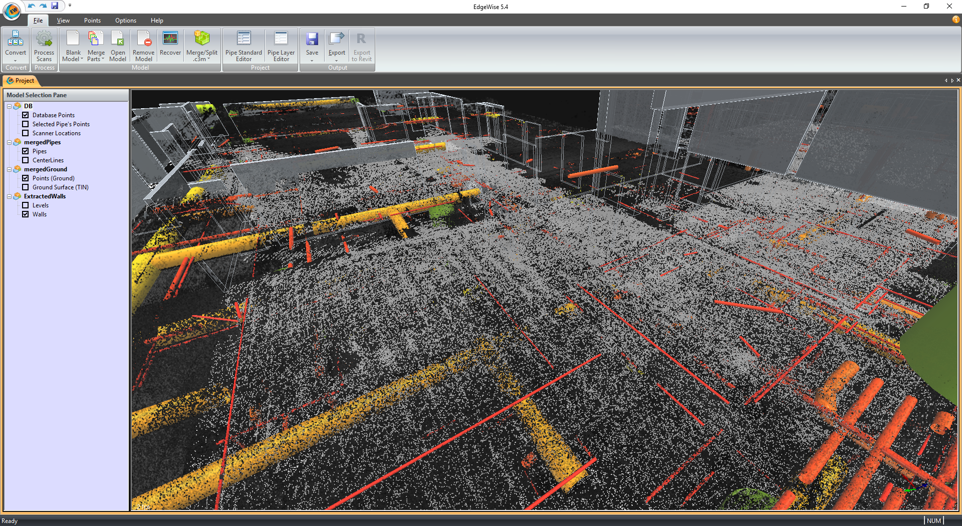 Point cloud processing into EdgeWise database with extracted elements from the point cloud database only