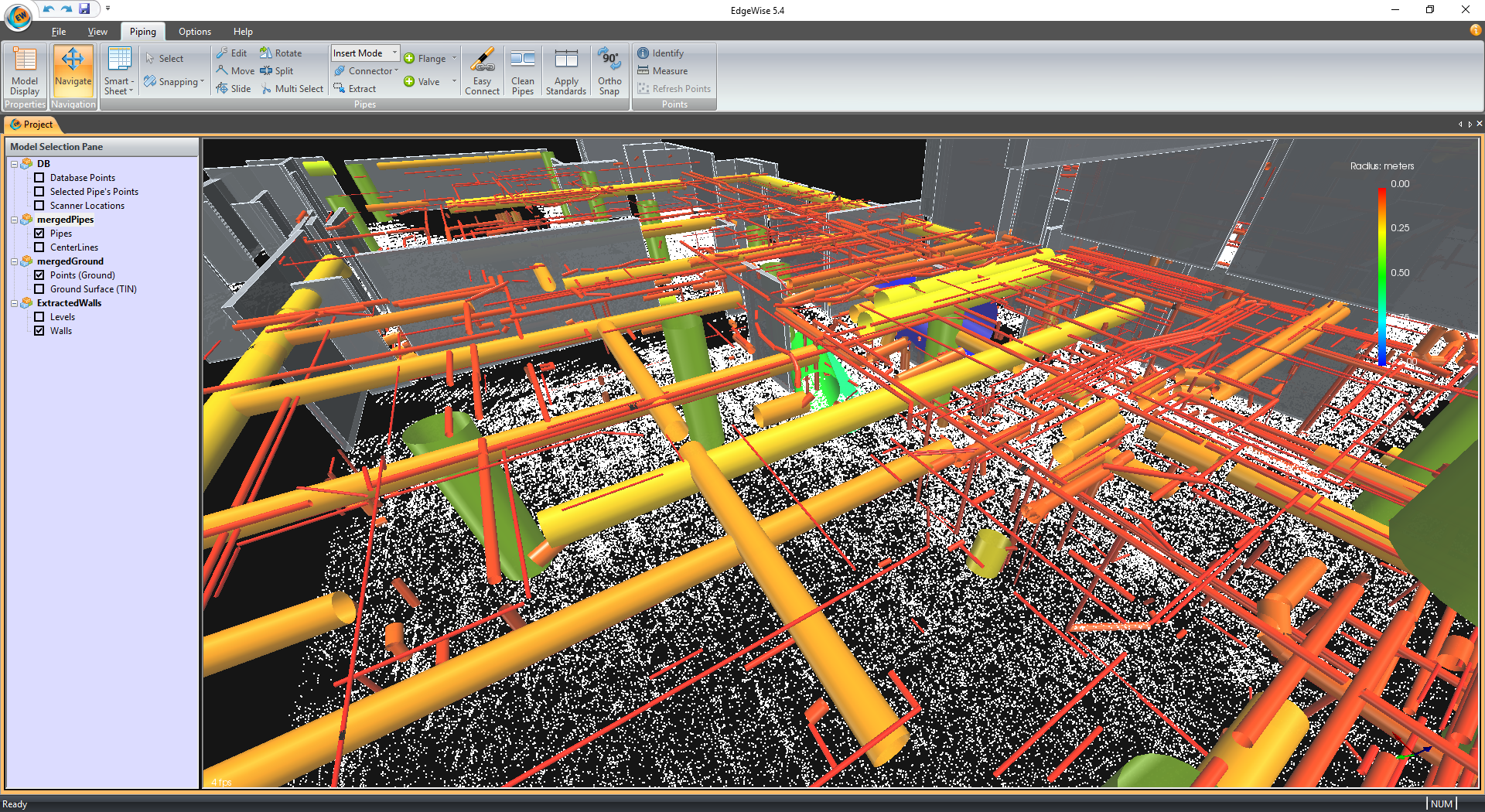Point cloud processing in EdgeWise database with extracted elements from the point cloud database overlaid to the point cloud. Lower left: Point cloud processing into EdgeWise database with extracted elements from the point cloud database only.