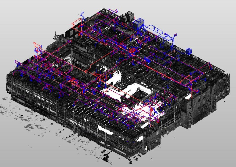 EdgeWise database with extracted elements from the point cloud– used modeling and transferred to design-authoring software like Revit.