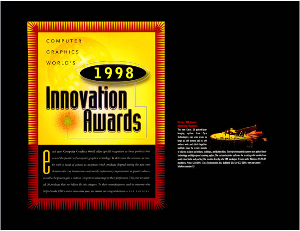 This 1998 technology innovation award from Computer Graphics World magazine was one of 13 technology innovation awards that the Cyrax 3D laser scanner earned in its early years.